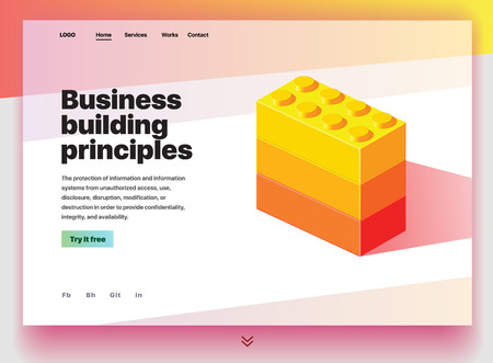 Website providing the service of business building principles. Concept of a landing page for business building principles. Vector website template with 3d isometric illustration of construction blocks Vektoros illusztráció