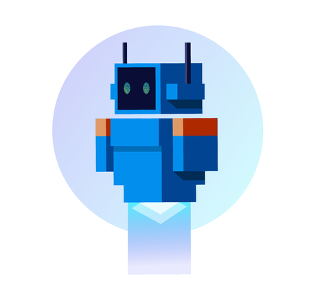 Robot  Android  Artificial intelligence  Blue robot in flat style