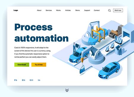 Automation processes in the automotive plant. Concept of a landing page for process automation in a car factory. Vector website template with 3d isometric illustration conveyor for assembly of cars