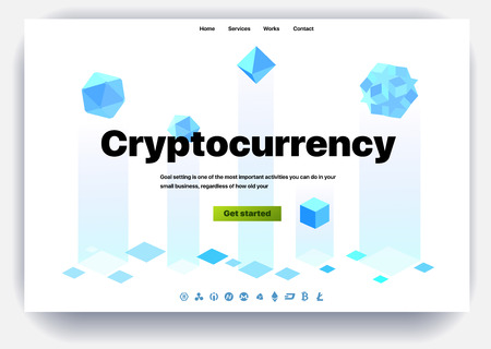 Cryptocurrency website. Cryptocurrency and digital money technology concept vector website. Website template. The concept of a landing page for cryptocurrency trading. Blockchain technology. Bitcoin