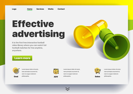 Website providing the service of effective advertising. Concept of a landing page for effective advertising. Vector website template with 3d isometric illustration of a megaphones. Web design site