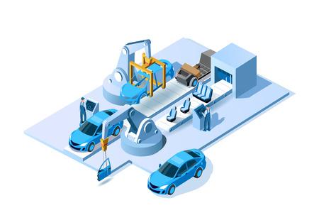 Autofabrik. Automobilwerk. Montagelinie für Automobile. Engineering-Systeme Automobil-Produktionslinie. Herstellungsprozess des Autos. Förderer für die Montage von Autos Vektor isometrische 3D-Darstellung
