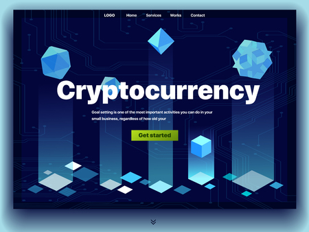 Cryptocurrency website. Cryptocurrency and digital money technology concept vector website. Website template. The concept of a landing page for cryptocurrency trading. Blockchain technology. Bitcoin Illustration