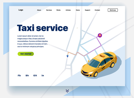 Website providing the service of taxi. Concept of a landing page for taxi service. Vector website template with 3d isometric illustration of a taxi with the shortest route map to the house