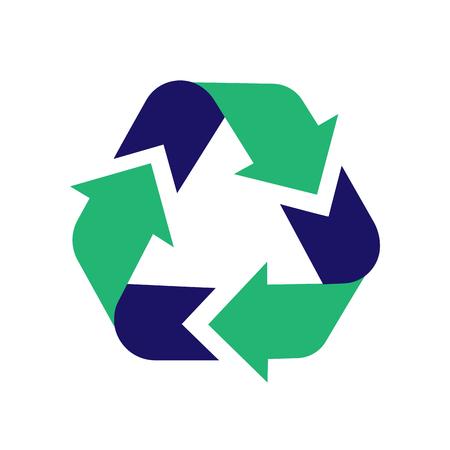Riciclare l'icona del segno. Icona freccia vettore. Segno di riciclaggio. Riciclare il design grafico del simbolo. Illustrazione del riciclaggio. Illustrazione astratta di vettore del simbolo di riciclaggio verde isolato su priorità bassa bianca