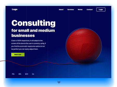 Website providing the service of consulting for small and medium business. Concept of a landing page for business consulting. Vector website template with 3d illustration a ball of thread 向量圖像