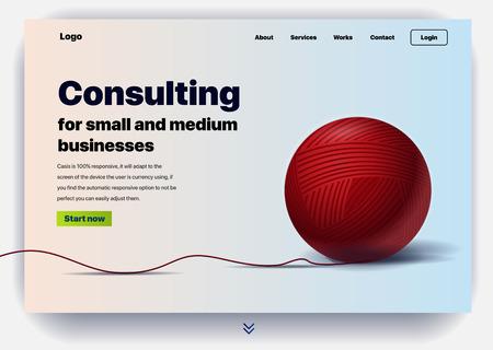 Website, die Beratungsdienste für kleine und mittlere Unternehmen anbietet. Konzept einer Landingpage für die Unternehmensberatung. Vektor-Website-Vorlage mit 3D-Darstellung ein Fadenknäuel Vektorgrafik
