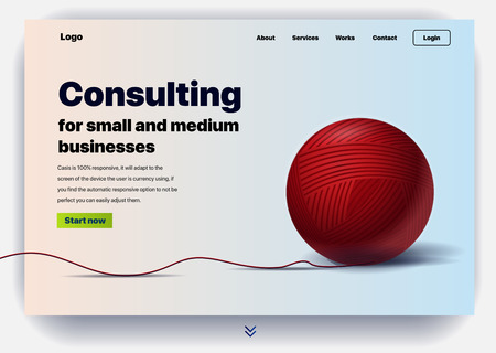 Website providing the service of consulting for small and medium business. Concept of a landing page for business consulting. Vector website template with 3d illustration a ball of thread Illusztráció