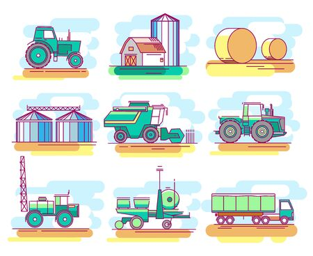 Modern linear pictogram of farming and growing grain. Icons of farming and growing grain. Tractor. Combine harvester. Farm. Perfect for website, mobile apps, catalogue, booklet, promotional products