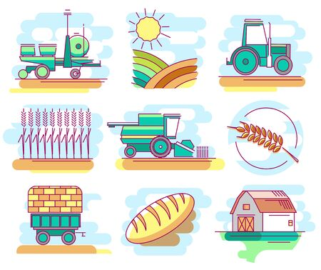 Modern linear pictogram of farming and growing grain. Icons of farming and growing grain. Tractor. Combine harvester. Bread. Perfect for website, mobile apps, catalogue, booklet, promotional products