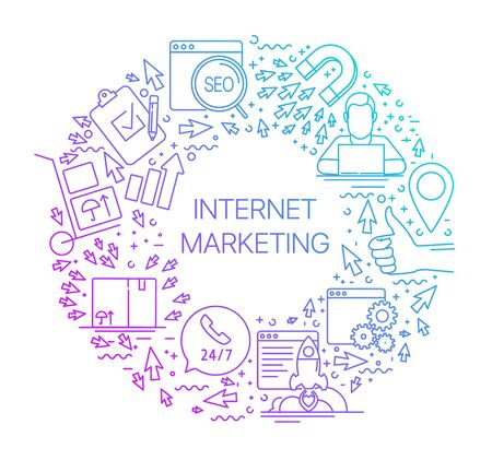 Modern linear concept of internet marketing in circle with thin line icons. Internet marketing. SEO. Set of line icons internet marketing and new market trends analysis, for graphic and web design