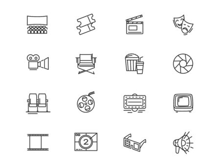 Filmmaking and cinema equipment vector linear icons set. Cinema outline symbols pack. Collection of cinema equipment isolated contour illustrations. Camera. Clapper. Theater. TV. Bullhorn. Projector
