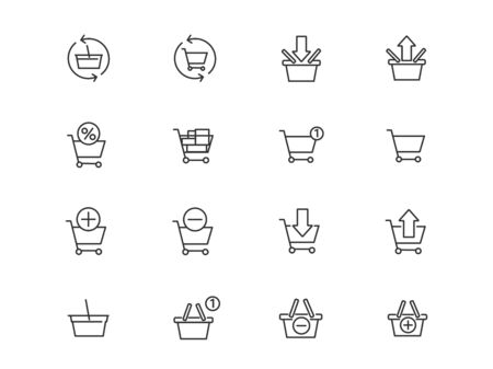 Baskets for online store vector linear icons set. Cart outline symbols pack. Collection of shopping baskets isolated contour illustrations. Empty basket. Add to cart. Shopping basket. E-commerce