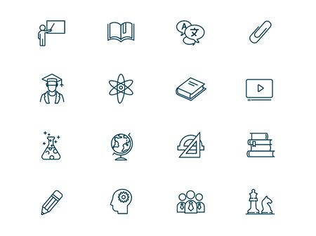 Science and education vector linear icons set. Elements education outline symbols pack. Collection of simple education icons isolated contour illustrations. Teacher. Atom. Textbooks. Students. Globe Ilustracja