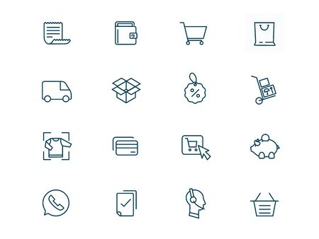 Icons for online store site vector linear set. Elements e-commerce outline symbols pack. Collection of icons for online shopping isolated contour illustrations. Purse. Cart on wheels. Package. Car