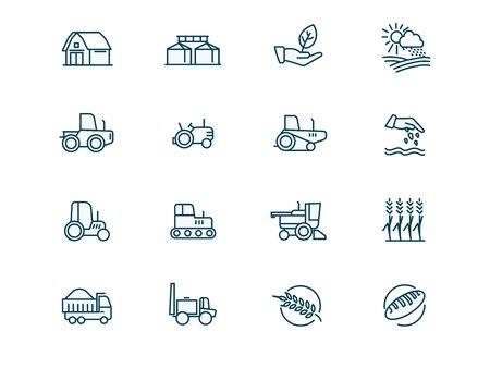 Agricultural machinery and agribusiness vector linear icons set. Agriculture. Farming and horticulture equipment outline symbols pack. Tractor and combine harvester isolated contour illustrations