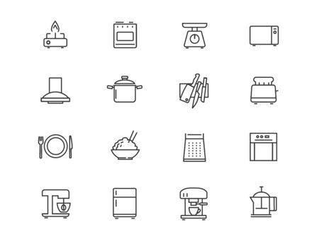 Household appliances and kitchen vector linear icons set. Kitchen outline symbols pack. Collection of cooking tools icons isolated contour illustrations. Scales. Microwave. Toaster. Electric kettle Ilustração