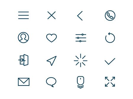 Standard icons for websites vector linear set. Elements navigation outline symbols pack. Collection of simple navigation and action icons isolated contour illustrations. Menu. Avatar. Scroll. Tuning  イラスト・ベクター素材