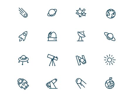 Space and stars vector linear icons set. Astronomy and space outline symbols pack. Collection of simple cosmos object icons isolated contour illustrations. Earth. Moon. Telescope. Sputnik. Sun. Stars