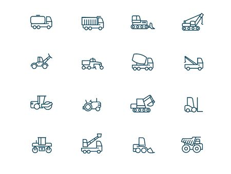 Construction machinery vector linear icons set. Heavy duty machines outline symbols pack. Collection of construction transport icons isolated contour illustrations. Vehicle. Auto cement truck. Dumper