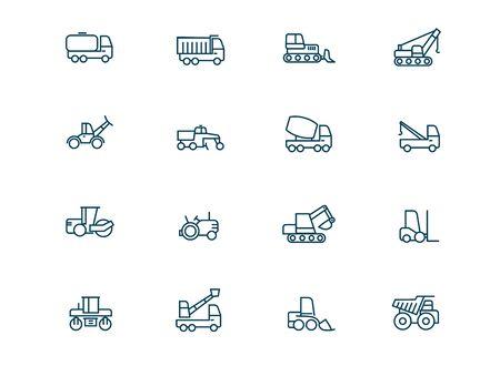 Ensemble d'icônes linéaires vectorielles de machines de construction. Les machines lourdes décrivent le pack de symboles. Collection d'icônes de transport de construction illustrations de contour isolées. Véhicule. Camion de ciment automobile. Tombereau Vecteurs