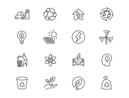 Alternative energy sources vector linear icons set. Ecology renewable energy outline symbols pack. Collection of alternative energy icons isolated contour illustrations. Electric car. Solar power
