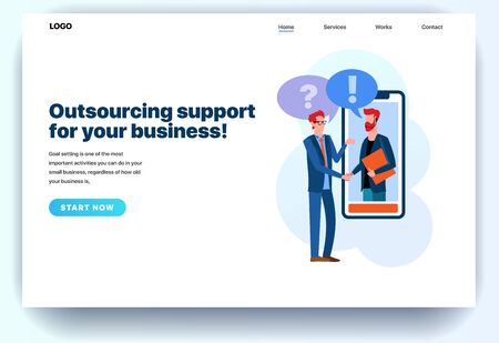 Web page flat design template for outsourcing company. Business landing page online outsourcing support for your business. Modern vector illustration concept for website and mobile website development Иллюстрация