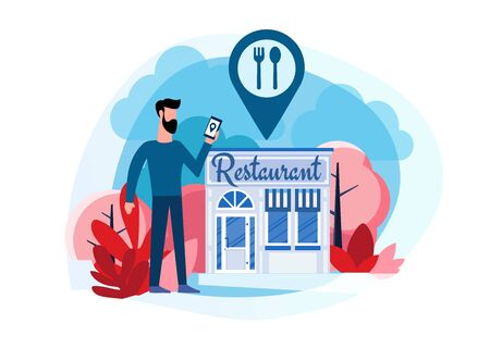 Restaurant reservation. Ordering food. View menu. Search restaurants. A man stands near the restaurant. Flat illustration of a man who came to the restaurant with the help of a smartphone navigator 일러스트