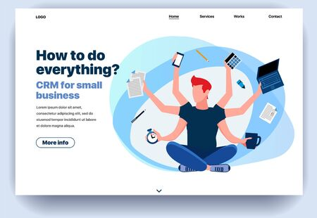 Web page flat design template CRM for small business. Business landing page online with info on how to do everything. Modern vector illustration concept for website and mobile website development Illustration