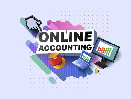 Modern banner of online accounting. Vector illustration of a business poster with different 3d isometric items of online accounting. Monitor. Laptop. Bank card. Diagram. Graph. Chart. Presentation