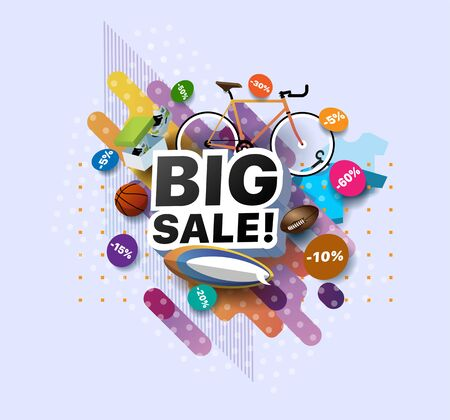 Modern banner big sale products at discounts. Retail and social sale poster. Shop or online shopping promotional business sticker. Limited sales offer or store discount banner vector illustration Ilustracja