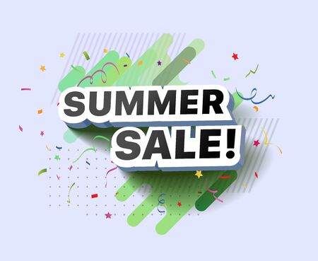 Modern banner of summer sale. Vector illustration of summer decorative poster template design. Summer abstract background discount special offer for shop, online store, supermarket, fair, boutique