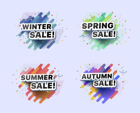 Set of modern banners for spring, summer, autumn, winter sale. Collection of vector illustrations of seasonal decorative posters on abstract background. For online store, supermarket, fair, boutique Çizim