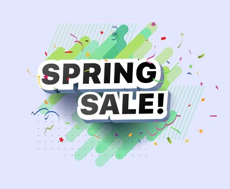 Modern banner of spring sale. Vector illustration of spring decorative poster template design. Spring abstract background discount special offer for shop, online store, supermarket, fair, boutique