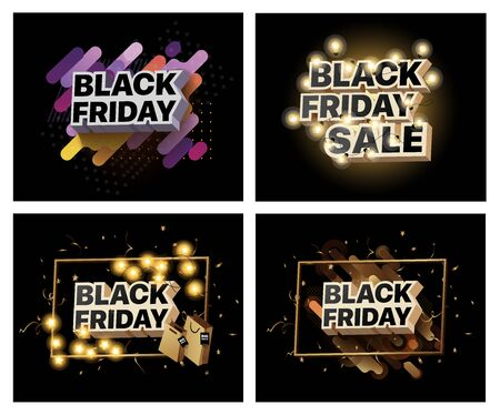 Set of vector illustrations for black Friday sale. Collection of banners for the sales of black Friday. Social media banner for buying, selling, product promotion. Abstract posters for shopping sales Foto de archivo - 132797845
