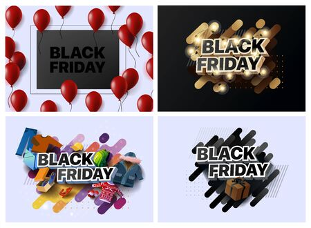 Set of vector illustrations for black Friday sale. Collection of banners for the sales of black Friday. Social media banner for buying, selling, product promotion. Abstract posters for shopping sales Foto de archivo - 132648449