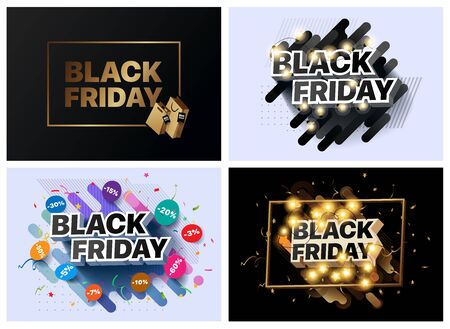 Set of vector illustrations for black Friday sale. Collection of banners for the sales of black Friday. Social media banner for buying, selling, product promotion. Abstract posters for shopping sales Foto de archivo - 132648906
