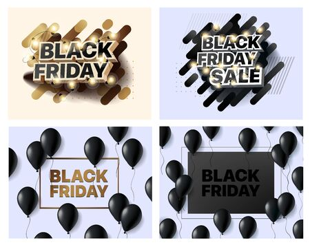 Set of vector illustrations for black Friday sale. Collection of banners for the sales of black Friday. Social media banner for buying, selling, product promotion. Abstract posters for shopping sales Foto de archivo - 132797843