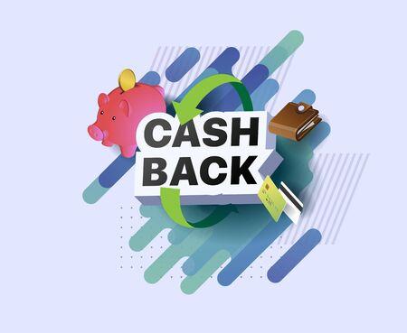 Emblem cash back. Return on investment. Return of money. Money refund badge. Money back reward for follow. Modern concept of cashback vector illustration. Cash back for shopping big procents Foto de archivo - 132797844