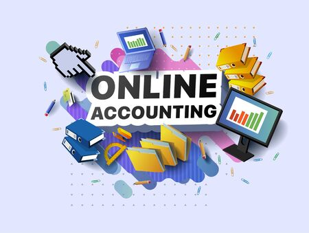 Modern banner of online accounting. Vector illustration of a business poster with different 3d isometric items of online accounting. Paper clips. Folders. Pencils. Stapler. Monitor. Laptop. Protractor Foto de archivo - 132649550