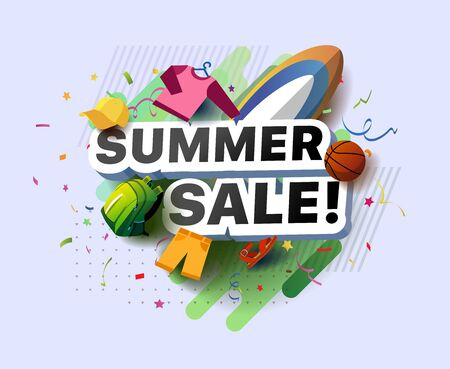 Modern banner of summer sale. Vector illustration of a summer poster with a baseball cap, backpack, shorts, sandal, basketball ball, surfboard and sweater on an abstract background Foto de archivo - 132648855