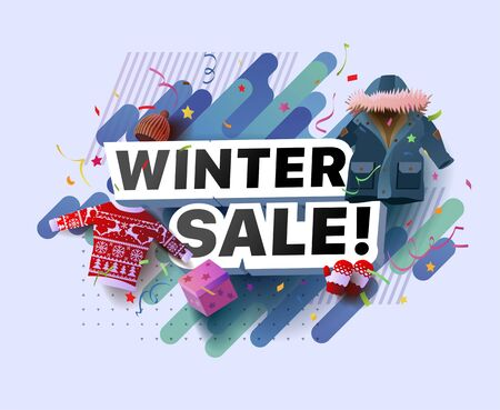 Modern banner of winter sale. Vector illustration of a winter poster with a sweater, hat, down jacket, mittens, gift box on abstract background. For shop, online store, supermarket, fair, boutique Foto de archivo - 132649065