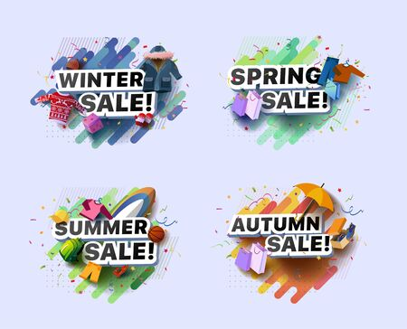 Set of modern banners for spring, summer, autumn, winter sale. Collection of vector illustrations of seasonal posters with baseball cap, pants, sweater, backpack, and etc. goods on abstract background Foto de archivo - 132649100
