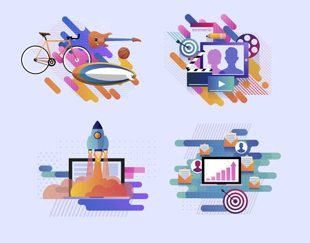 Set of modern illustrations of startup, business goals, film production, entertainment and recreation. Collection of vector illustrations of start up business and leisure. Laptop. Bicycle. Guitar Foto de archivo - 132648541