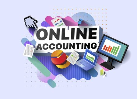 Modern banner of online accounting. Vector illustration of a business poster with different 3d isometric items of online accounting. Monitor. Laptop. Documents. Marker. Bank card. Diagram. Graph Foto de archivo - 132648352