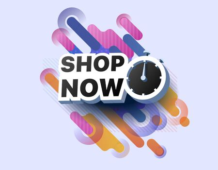 Modern banner shop now. Sale countdown. Shopping promotional business sticker. Vector illustration of a limited time offer poster. Special offer for shop, online store, supermarket, fair, boutique Foto de archivo - 132648632