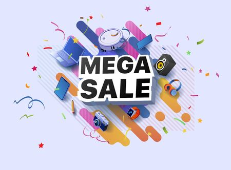 Modern banner mega sale products at discounts. Retail and social sale poster. Shop or online shopping promotional business sticker. Limited sales offer or store discount banner vector illustration Foto de archivo - 132649300