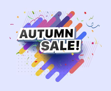 Modern banner of autumn sale. Vector illustration of autumn decorative poster template design. Autumn abstract background discount special offer for shop, online store, supermarket, fair, boutique Foto de archivo - 132648372