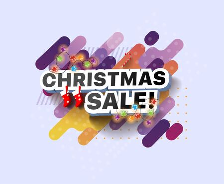 Modern Christmas sale banner. Shopping promotional business sticker. Vector illustration of a poster retail sales of goods. Special seasonal offer for shop, online store, supermarket, fair, boutique Foto de archivo - 132649277