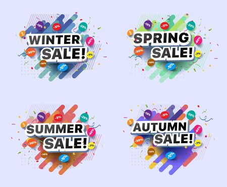 Set of modern banners for spring, summer, autumn, winter sale. Collection of vector illustrations of seasonal decorative posters with a percentage discount on abstract background Foto de archivo - 132649114